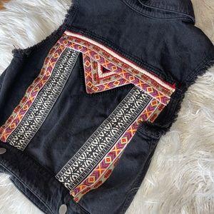 Black Denim Coachella H&M Vest